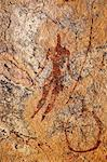 Chad, Guili Dweli, Ennedi, Sahara. A rock painting of a man with a long curved stick or lance. Stock Photo - Premium Rights-Managed, Artist: AWL Images, Code: 862-06676435