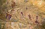 Chad, Tchad, Terkei West, Ennedi, Sahara.  Ancient rock art painted on the domed ceiling of a small cave or shelter. Stock Photo - Premium Rights-Managed, Artist: AWL Images, Code: 862-06676535
