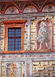 Central and Eastern Europe, Czech Republic, South Bohemia, Cesky Krumlov. Detail of frescoes on one of the facades of the Castle. Stock Photo - Premium Rights-Managed, Artist: AWL Images, Code: 862-06676636