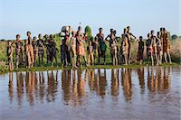 Dassanech villagers line the banks of the Omo River, Ethiopia Stock Photo - Premium Rights-Managednull, Code: 862-06676698
