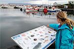 Girl pointing out marine life on an interpretation board beside the harbour at Stykkish-lmur, Snaefellsness Peninsular, Iceland. Stock Photo - Premium Rights-Managed, Artist: AWL Images, Code: 862-06676807