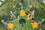 India, Rajasthan, Jaipur. Detail from a ceiling mural depicting a story relating to the Hindu god Krishna in a pavilion of the restored Jal Mahal, a former royal pleasure garden originally built for the maharajas of Jaipur. Stock Photo - Premium Rights-Managed, Artist: AWL Images, Code: 862-06676843