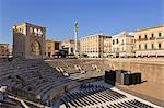 Italy, Apulia, Lecce district, Salentine Peninsula, Salento, Lecce. Piazza SantOronzo, Roman amphitheatre, theater and Colonna di SantOronzo Stock Photo - Premium Rights-Managed, Artist: AWL Images, Code: 862-06677079
