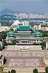 Democratic Peoples Republic of Korea. North Korea, Pyongyang. Elevated view of Kim Il Sung Square and the Grand Peoples Study House showing rehearsals for the Youth Day Parade. Stock Photo - Premium Rights-Managed, Artist: AWL Images, Code: 862-06677236