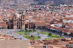 South America, Peru, Cusco. A view of Cusco from Sacsayhuaman showing the Plaza de Armas and the Jesuit church of the Company of Jesus, Compania de Jesus, in the UNESCO World Heritage listed former Inca capital of Cusco Stock Photo - Premium Rights-Managed, Artist: AWL Images, Code: 862-06677341
