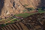 South America, Peru, Cusco, Sacred Valley, Pisac. View of Pisac village and the Sacred Valley from the Inca ruins of Pisac with Qallaqasa, the citadel in the foreground Stock Photo - Premium Rights-Managed, Artist: AWL Images, Code: 862-06677374