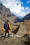 South America, Peru, Cusco. A hiker on an Inca road on the trail to Choquequirao Stock Photo - Premium Rights-Managed, Artist: AWL Images, Code: 862-06677392