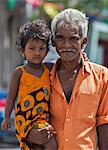 An old man and his granddaughter, Colombo, Sri Lanka Stock Photo - Premium Rights-Managed, Artist: AWL Images, Code: 862-06677482