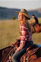 Tourist girl from Switzerland at Wilson Ranch, Guest Ranch and B&B, Fossil, Oregon, USA Stock Photo - Premium Rights-Managednull, Code: 862-06677558