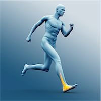Blue human figure running with highlighted ankle Stock Photo - Premium Royalty-Freenull, Code: 6109-06684708