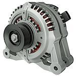 Car alternator isolated on a white background. 3D render. Stock Photo - Royalty-Free, Artist: spongecake                    , Code: 400-06685904