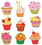 Shiny happy set of cupcakes. Stock Photo - Royalty-Free, Artist: wingedcats                    , Code: 400-06685976
