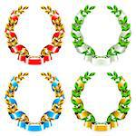 Set of laurel wreaths with ribbon on the white background Stock Photo - Royalty-Free, Artist: Lep                           , Code: 400-06686091