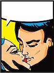 Lovers: Kissing couple man and woman in pop art comic style Stock Photo - Royalty-Free, Artist: icons                         , Code: 400-06686426