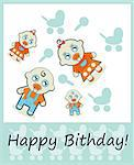 Happy Birthday Boy and Girl Stock Photo - Royalty-Free, Artist: icons                         , Code: 400-06686428