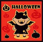 Halloween icon Bat card poster background silhouette of bat girl and pumpkin Stock Photo - Royalty-Free, Artist: icons                         , Code: 400-06686449