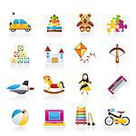 different kind of toys icons - vector icon set Stock Photo - Royalty-Free, Artist: stoyanh                       , Code: 400-06686700