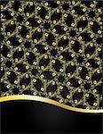 Background with gold border and floral pattern Stock Photo - Royalty-Free, Artist: Linusy                        , Code: 400-06687365