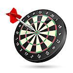 Dartboard with dart. Illustration on white background Stock Photo - Royalty-Free, Artist: dvarg                         , Code: 400-06687461