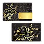 Luxury business card with golden ribbon and vintage pattern Stock Photo - Royalty-Free, Artist: liliwhite                     , Code: 400-06687469