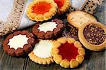 Cookies with chocolate close-up on wooden table. Stock Photo - Royalty-Free, Artist: sriba3                        , Code: 400-06687487
