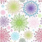 Seamless colorful pattern with lacy vivid circles and stars (vector) Stock Photo - Royalty-Free, Artist: OlgaDrozd                     , Code: 400-06691832