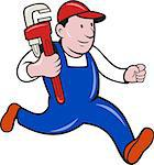 Illustration of a plumber with monkey wrench done in cartoon style on isolated background. Stock Photo - Royalty-Free, Artist: patrimonio                    , Code: 400-06692415