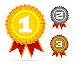 Gold, silver and bronze awards on white. Vector illustration Stock Photo - Royalty-Free, Artist: sermax55                      , Code: 400-06692511