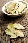 the bay leaves on old wooden table Stock Photo - Royalty-Free, Artist: jirkaejc                      , Code: 400-06692674