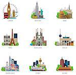 Set of the simple icons representing popular travel destinations Stock Photo - Royalty-Free, Artist: tele52                        , Code: 400-06693256