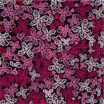 Seamless White and Pink Butterfly Silhouette Pattern On Dark Red Background. Vector Stock Photo - Royalty-Free, Artist: nikifiva                      , Code: 400-06693579