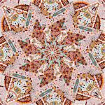 Ornamental Colorful Carpet Background. Vector Symmetric Illustration Stock Photo - Royalty-Free, Artist: nikifiva                      , Code: 400-06693589