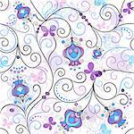 Gentle seamless spring pattern with vivid flowers and transparent butterflies (vector EPS 10) Stock Photo - Royalty-Free, Artist: OlgaDrozd                     , Code: 400-06693591