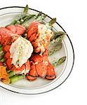 Grilled Lobster Tail Served With Asparagus Stock Photo - Royalty-Free, Artist: svetlanna                     , Code: 400-06694611