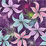 Repeating violet floral pattern with vivid and transparent flowers (vector EPS 10) Stock Photo - Royalty-Free, Artist: OlgaDrozd                     , Code: 400-06694687