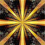 Vintage seamless pattern with mandala and gold rays (vector EPS 10) Stock Photo - Royalty-Free, Artist: OlgaDrozd                     , Code: 400-06694766