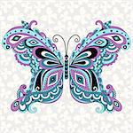Decorative fantasy vintage butterfly with grey seamless pattern (vector) Stock Photo - Royalty-Free, Artist: OlgaDrozd                     , Code: 400-06695586