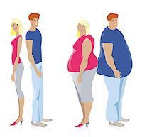 Dieting couple from fat to thin Stock Photo - Royalty-Freenull, Code: 400-06695592