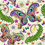 Seamless valentine pattern with colorful vintage butterflies and flowers and hearts (vector) Stock Photo - Royalty-Free, Artist: OlgaDrozd                     , Code: 400-06696007