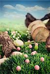 Colorful Easter eggs. Holiday nature concept with easter hunt. Eggs in the sunny meadow Stock Photo - Royalty-Free, Artist: mythja                        , Code: 400-06696321