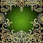 Green and gold luxurious filigree vintage floral frame (vector) Stock Photo - Royalty-Free, Artist: OlgaDrozd                     , Code: 400-06696909