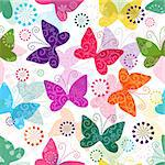 Spring seamless pattern with colorful and transparent butterflies (vector EPS 10) Stock Photo - Royalty-Free, Artist: OlgaDrozd                     , Code: 400-06697974
