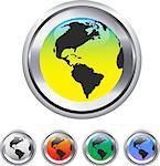 Globe and world map on metallic circle elements. Vector illustration Stock Photo - Royalty-Free, Artist: gorgrigo                      , Code: 400-06698141