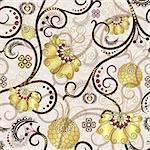 Easter seamless pattern with brown curls and gold flowers (vector EPS 10) Stock Photo - Royalty-Free, Artist: OlgaDrozd                     , Code: 400-06698290