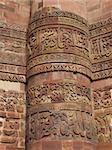Qutb Minar is the tallest brick minaret in the world. It is 239ft high and has five distinct storeys, each marked by a projecting balcony carried on muqarnas corbel. Stock Photo - Royalty-Free, Artist: glynspencer                   , Code: 400-06698495
