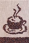 Coffee on burlap sack background forming the shape of a cup Stock Photo - Royalty-Free, Artist: lightkeeper                   , Code: 400-06698789