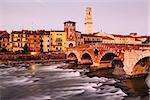 View of Adige River and Saint Peter Bridge in Verona, Veneto, Italy Stock Photo - Royalty-Free, Artist: anshar                        , Code: 400-06699013