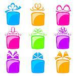 A collection of colorful gift boxes on a white background Stock Photo - Royalty-Free, Artist: Lep                           , Code: 400-06699387