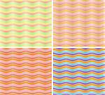 Set of four seamless patterns with colored wavy lines Stock Photo - Royalty-Free, Artist: Linusy                        , Code: 400-06699476