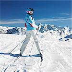woman skier, Alps Mountains, Savoie, France Stock Photo - Royalty-Free, Artist: phbcz                         , Code: 400-06699610